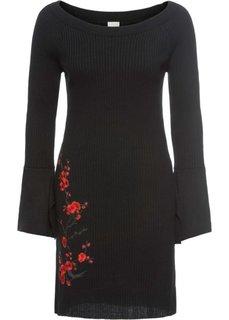 Платье с вышивкой (черный/красный) Bonprix
