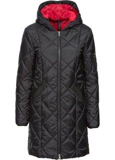 Двухцветное стеганое пальто (красный/черный) Bonprix
