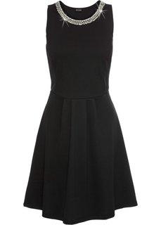 Платье из трикотажа с цепочкой-аппликацией (черный) Bonprix