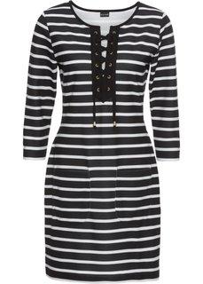 Платье трикотажное на шнуровке (черный/белый в полоску) Bonprix