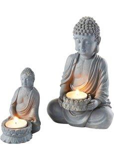 Фигурка сидящего Будды (2 шт.) (светло-серый) Bonprix