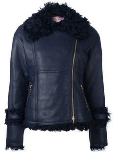 кожаная куртка с меховой оторочкой Lanvin