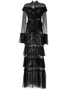кружевное прозрачное платье макси с оброками Jonathan Simkhai