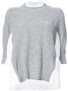 свитер с контрастными вставками Sacai