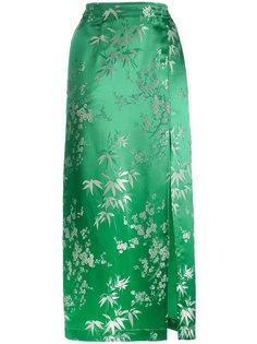 шелковая жаккардовая юбка-миди с цветочным принтом Attico