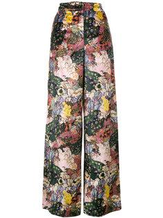 бархатные широкие брюки Bertie с цветочным принтом Erdem