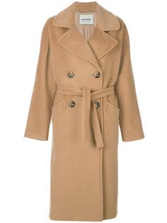 двубортное пальто с поясом  Ava Adore