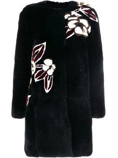 пальто с цветочным принтом  Yves Salomon