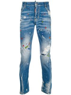 джинсы с брызгами краски  Dsquared2