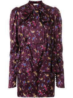 платье с длинными рукавами и цветочным принтом  Attico