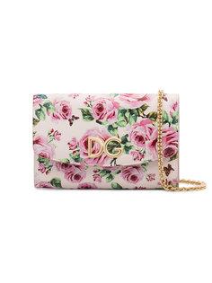 кошелек на цепочке с принтом роз и логотипом Dolce & Gabbana