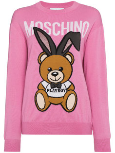 свитер с круглым вырезом с медведем и логотипом Moschino