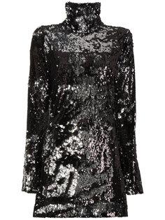 короткое платье с высоким воротником с пайетками Halpern