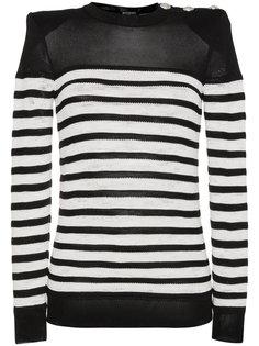 свитер с круглым вырезом в полоску Balmain