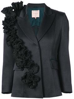 атласный пиджак с цветочной аппликацией  Roksanda