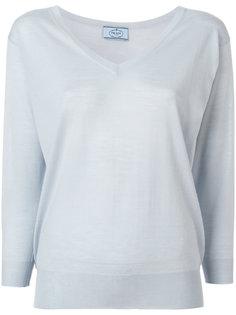 свитер плотной вязки с V-образным вырезом Prada