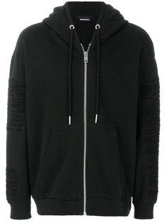 shredded zip hoodie Diesel