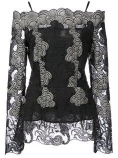 кружевная блузка с открытыми плечами  Yigal Azrouel