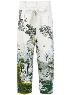 брюки с принтом джунглей Alberta Ferretti