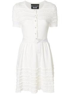 платье сребристой фактурой с оборками Boutique Moschino