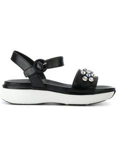 сандалии с кристаллами Prada