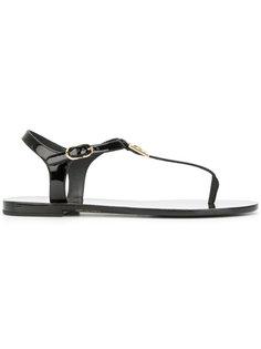 сандалии с ремешком через палец с логотипом  Dolce & Gabbana