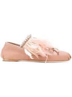 балетки с отделкой перьями Miu Miu