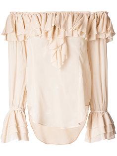 блузка с приспущенными плечами и рюшами Twin-Set