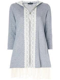 свитер на молнии с кружевной отделкой Twin-Set