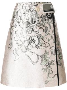 юбка А-силуэта с цветочным принтом  Prada