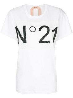 футболка с панелью с перфорацией и логотипом Nº21