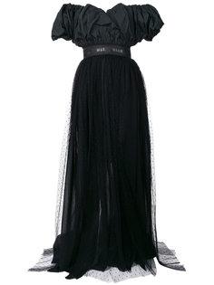 платье с открытыми плечами и присборенными деталями MSGM