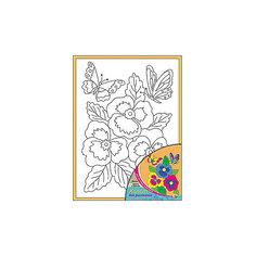 """Холст с красками """"Цветы и бабочки"""" 18х24 см Рыжий кот"""