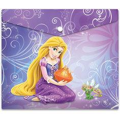 """Пластиковая папка-конверт на кнопке для тетрадей """"Принцессы"""", Disney Limpopo"""