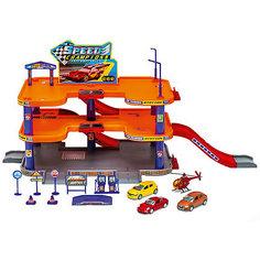 """Игровой набор Welly """"Гараж"""", 3 уровня + 3 машины и вертолет"""
