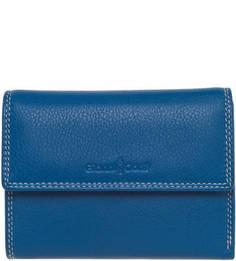 Синий кожаный кошелек на кнопке Gianni Conti