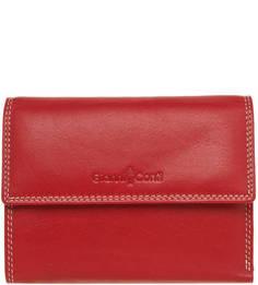 Красный кожаный кошелек на кнопке Gianni Conti