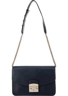 Синяя кожаная сумка с откидным клапаном Furla