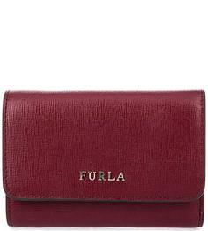 Бордовый кошелек из сафьяновой кожи Furla