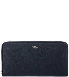 Синий кошелек из зерненой кожи Furla