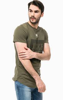 Хлопковая футболка цвета хаки с принтом Jack & Jones