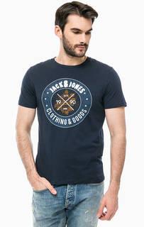 Синяя хлопковая футболка с принтом и вышивкой Jack & Jones