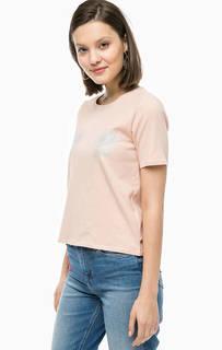 Хлопковая футболка с короткими рукавами Only