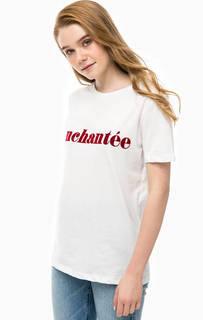 Хлопковая футболка с принтом Selected