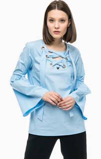 Синяя хлопковая блуза с длинными рукавами Michael Michael Kors