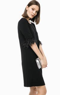 Короткое платье с отделкой из страусиных перьев Michael Michael Kors
