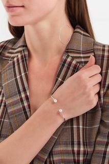 Жесткий браслет с жемчужинами серебристый Exclaim
