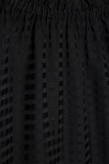 Черное шелковое платье с оборками Ivka