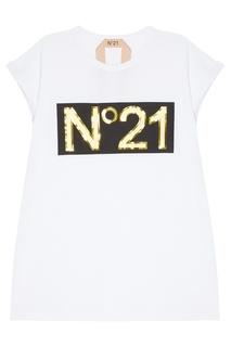 Хлопковая футболка с логотипом No.21