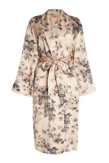Шелковый халат с цветочным принтом No.21